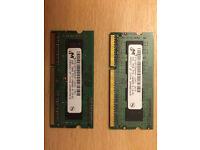 2x2GB PC3-10600S SODIMM laptop memory (core i3,5,7 - HP, DELL)