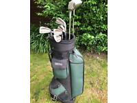 Hippo Golf Bag and Various Golf Clubs and Balls