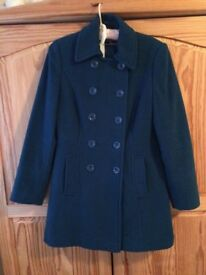 Ladies teal double breasted 3/4 length woollen coat, size 8, excellent condition - £15