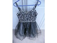 Small Mori Lee Girls Ladies Evening Ball Gown Prom Dress Black Sequins size 5 / 6