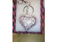 LADIES NEW LARGE HANDBAG CHARM / KEY RING, INLAID ALL OVER WITH HAND CUT CRYSTALS,