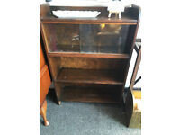 Cute Little Dark Brown Wooden Bookcase with Sliding Glazed Doors
