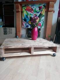 Scorched recycled pallet wood coffee table
