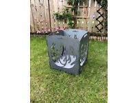 Foldable Black Steel Fire Basket, New, 35x35cm
