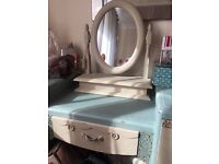 Vintage style dresser, mirror and stool