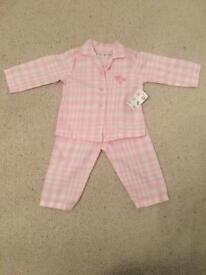 Nutmeg Pink Check Pyjamas 6-9 Months New