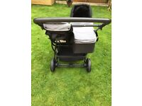 My child easy double pushchair with carrycot and car seat