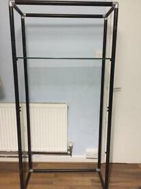 3 tier glass and metal shelving unit