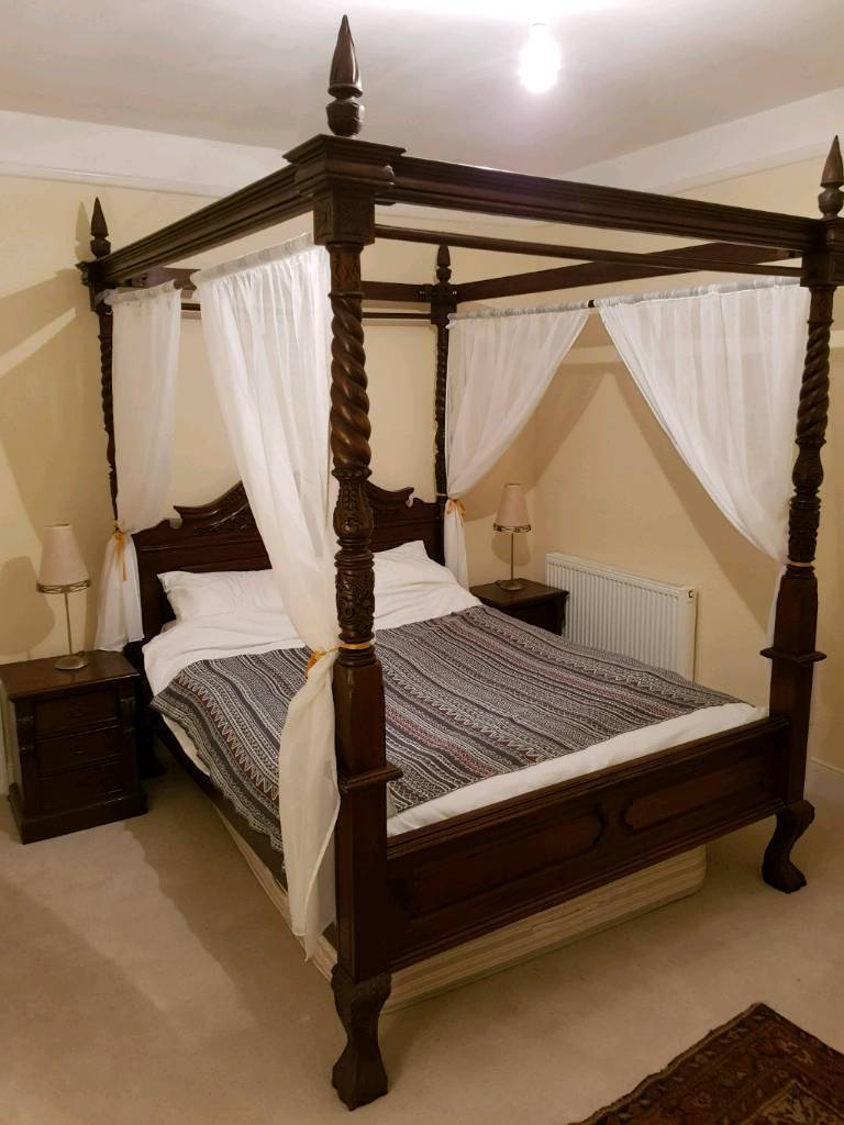 Beautiful Carved Four Poster Bed In Dartmouth Devon
