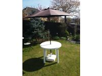 Patio table, parasol and base
