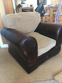 Leather and Fabric Armchair