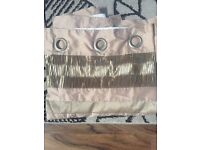 Dunelm cream and gold tabtop curtains 66 by 90