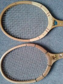 2 vintage wooden tennis racquets in good condition