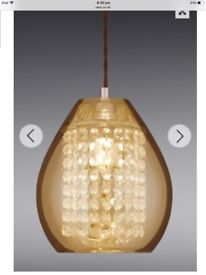 Mink glass ceiling pendant with clear glass beads.