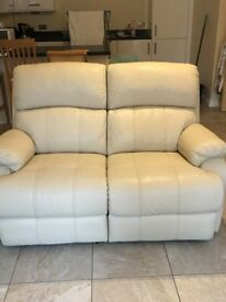 Leather 2 seater double power recliner sofa
