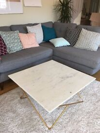 Katrina White Marble and Gold Coffee Table from Swoon Editions