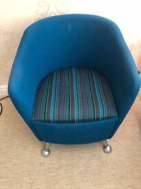 Blue Modern Fabrics Armchair with Metal Legs