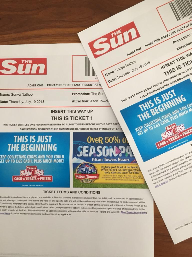 2 ALTON TOWERS TICKETS - 19/07/18 (SCHOOL HOLIDAYS) | in Chiswick, London |  Gumtree