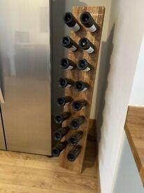 Mango Wood Industrial Wine Bottle Display Rack - Excellent Condition