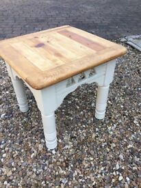 Vintage square table with stripped pine top —frame painted soft cream