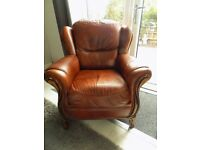 Italian Leather Brown Arm Chair