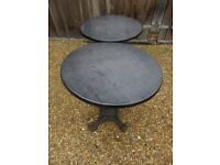 CAST IRON TABLE BASES WITH WERZALIT TOPS. Delivery possible. INDOOR or OUTDOOR. Pub, cafe etc