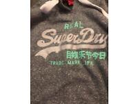 SUPER DRY HODDIE GREY AND SILVER SIZE S