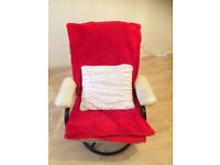 White leather armchair + Supersoft Throw and Cushion