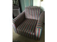 2 x John Lewis armchairs with matching footstool, all in excellent condition