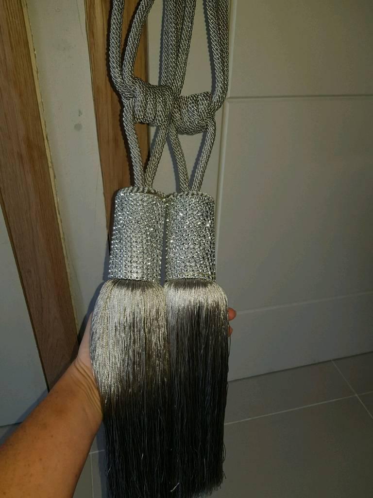 Silver grey curtain tie backs