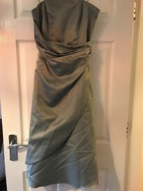 Sage green satin knee length bridesmaid dress size 10