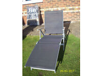 1FOLDING BRAND NEW NAVY/WHITE PADDED GARDEN CHAIR,1 SILVER/BLACK FOLDING TEXTILENE MESH GARDEN BED