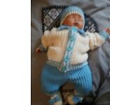 Hand knitted boys 4 piece set 0-3 months NEW