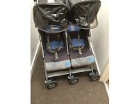 Maclaren techno double twin pushchair with rain cover