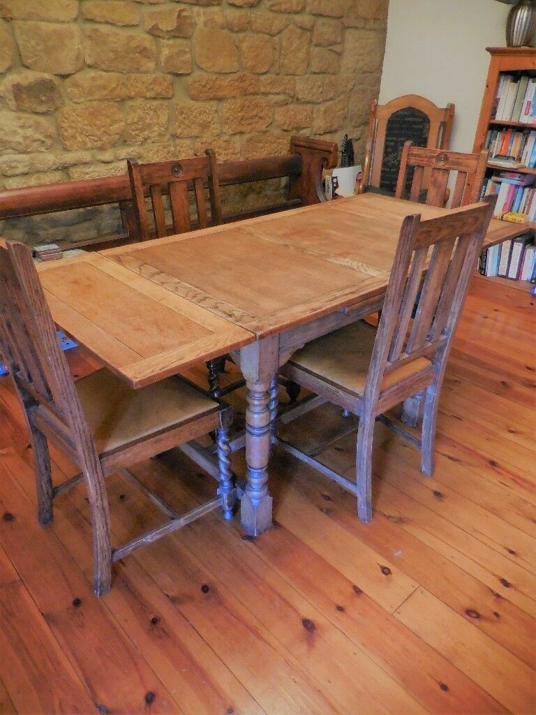 Vintage Oak Dining Table And Four Chairs 1920 S Shabby Chic Project