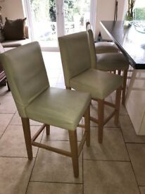 4 x Bar stools, cream faux leather. Buyer collect between 9am-12.30pm tomorrow (Saturday)
