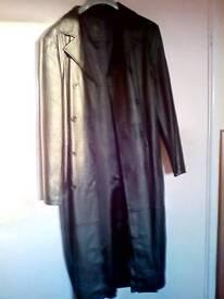 Full length 100%leather mens coat