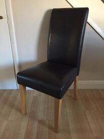 4 x Brown faux leather dining chair