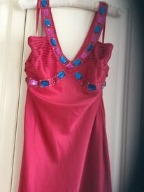 Stunning pink jewelled prom dress