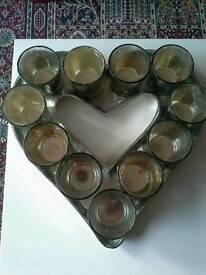 METAL HEART TEA LIGHT BASE AND 11 GLASS HOLDERS