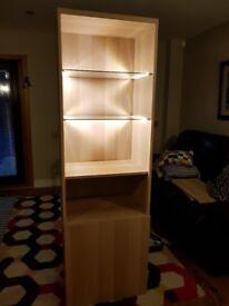 IKEA Tall Besta Unit - light oak with lighting, glass shelves and spring-open door