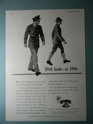 "1941 BELL TELEPHONE SYSTEMS ""1941 LOOKS AT 1916"" SALES ART AD"
