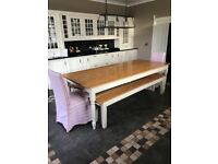 Large hand made solid wood dining table with benches and chairs