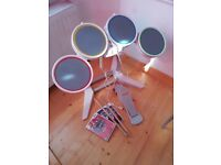 NINTENDO Wii Rock Band White Drum Kit Drum pedal Drumsticks and 2 game discs