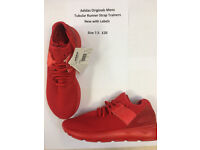 Adidas Originals Mens Tubular Trainers Red (New with Labels) Size 7.5 UK