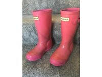 Girls pink hunter wellie boots size 10