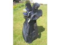 Ideal starter golf set in used but v.g. condition. Includes full set of clubs + trolley bag + other