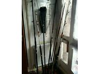 Vintage fishing rods and landing net