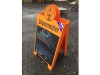 Jaegermeister street sign with blackboard