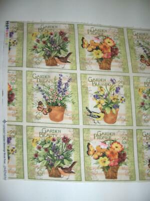 Birds Flowers 18 Squares Quilt Wallhanging Cotton Fabric Panel 18-1/2